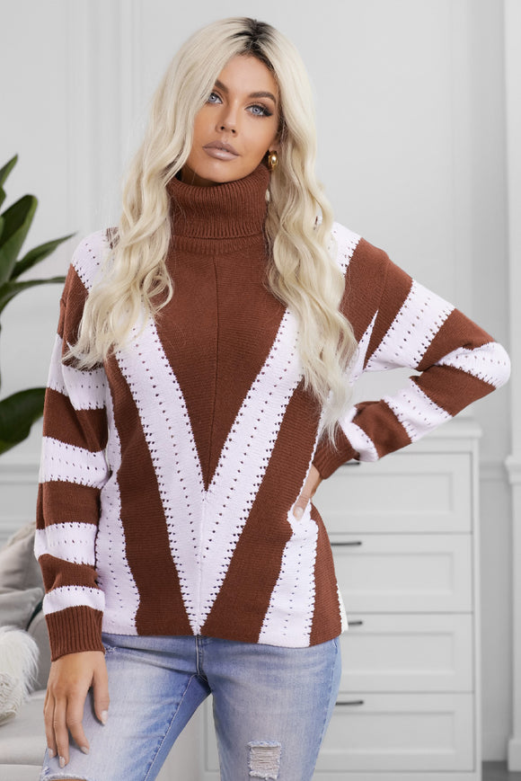 Pull Femme Col Roule a Rayures Marron et Blanc