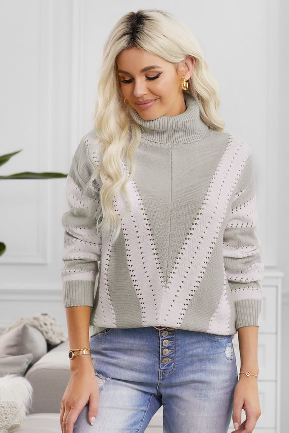 Pull Femme Col Roule a Rayures Gris et Blanc