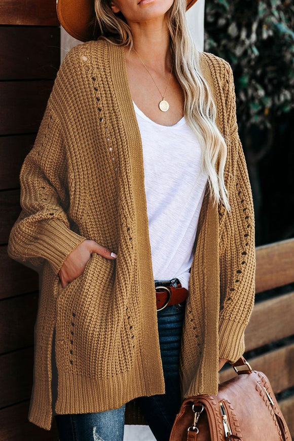 Cardigan Abricot Femme Tricot Torsade Manches Tombantes