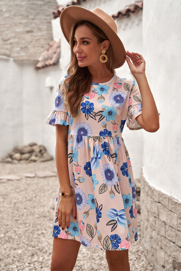 Robe Fleurie Manches Courtes a Volants Rose