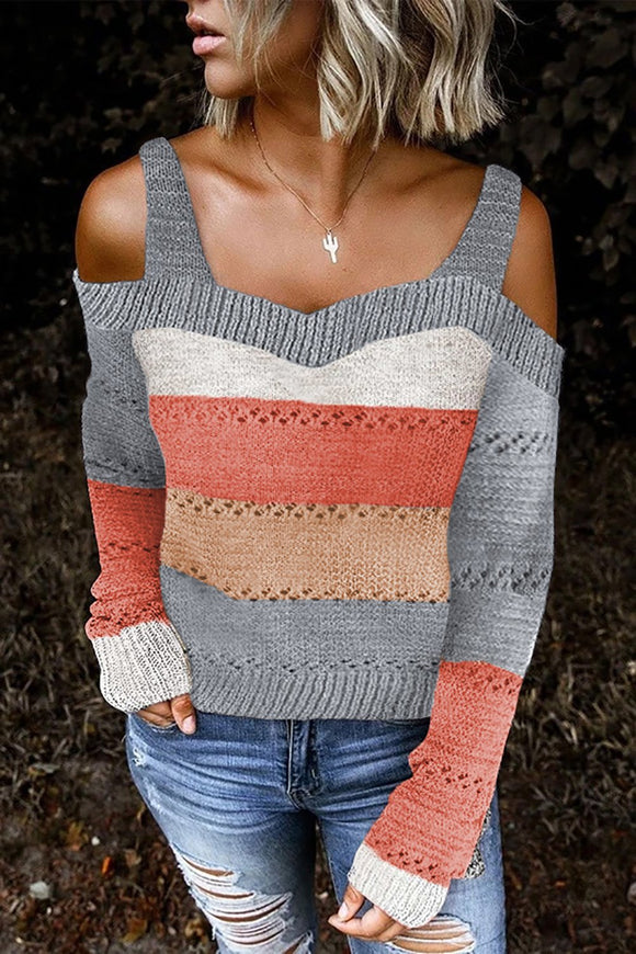 Pull Femme Evide Epaules Denudees A Rayures Gris Bordure Mode