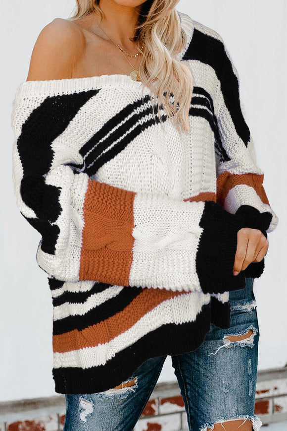 Pull Tricoter Femme Tressee Col en V Vrac Bubblegum Marron a Rayures
