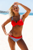 Bikini Femme 2 Pieces Push Up Rouge Rembourre Rassembler