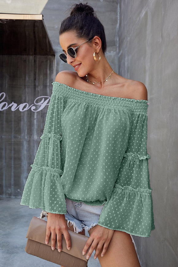 Blouse Chic a Pois Suisse Vert Manches Longues Epaule Denudee