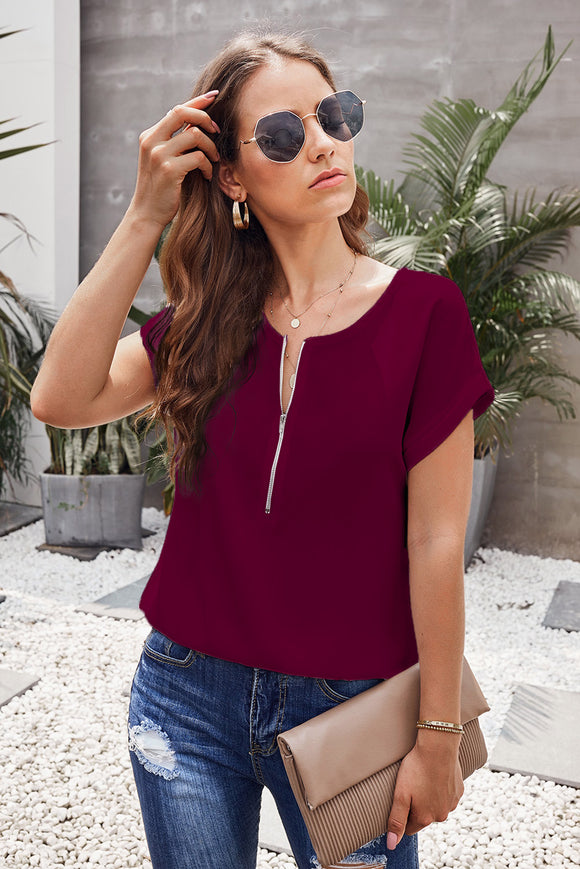 Blouse Rouge Femme Zippee Manches Courtes