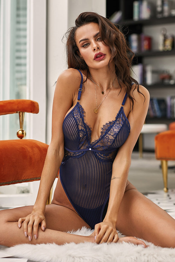 Body Femme Lingerie Sexy Maille Rayee Bleu Marine