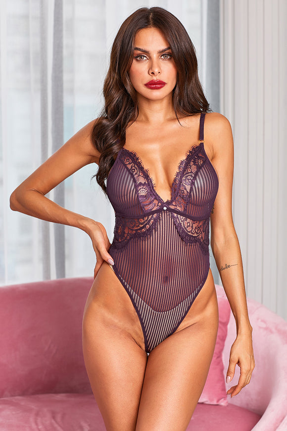 Body Femme Lingerie Sexy Maille a Rayee Violet
