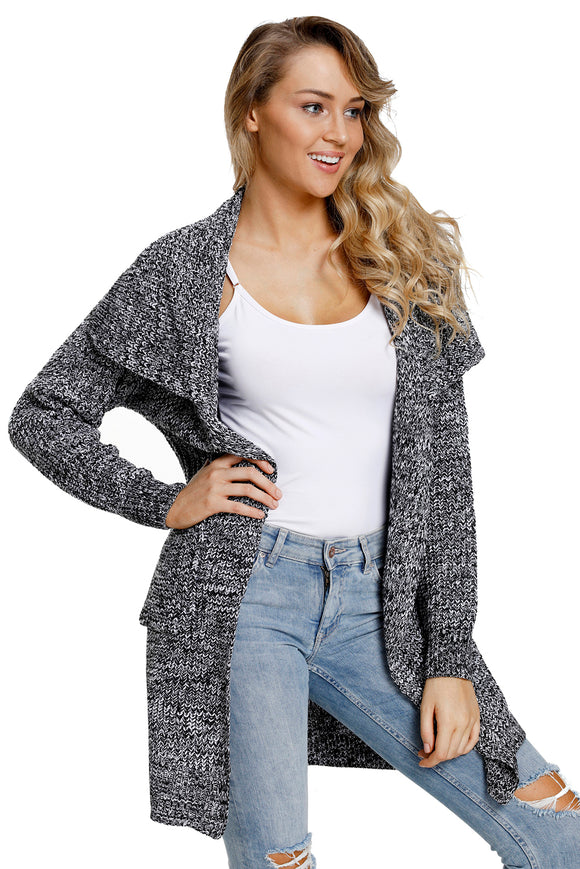 Cardigan Longue Chunky Femme Gris Avec Poches Laterales