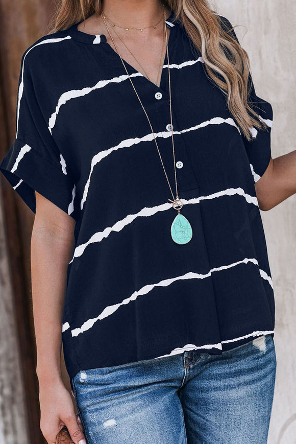 Chemise Bleu Marine Manches Courtes Femme Pliee A Rayures