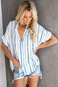 Chemise Femme Manches Courtes a Rayures Blanc Bleu
