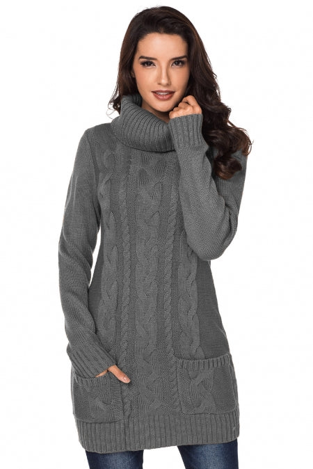 Robe Pull Gris Tricot de Cable Col Benitier