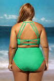 Grande Taille Maillots Vert Patterned Empiecements