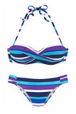 Maillot de Bain Bikini 2 pieces Push Up Bleu a Rayures