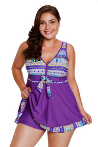 Maillot de Bain Jupette Shorty 2 Piece Accent Violet Imprime Tribal