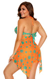 Maillot de bain Tankini 2pcs Orange Bleu Points Polka