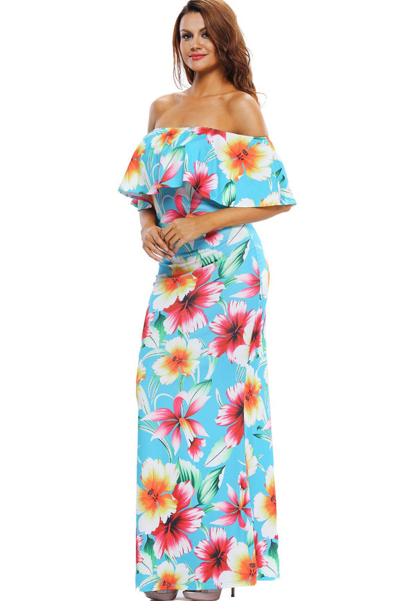 Maxi Robes Turquoise Roses Print Off The Shoulder Robe