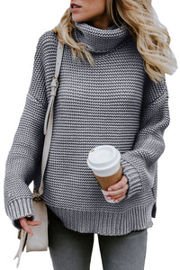 Pull Femme Col Roule Gris Confortable Manches Longues