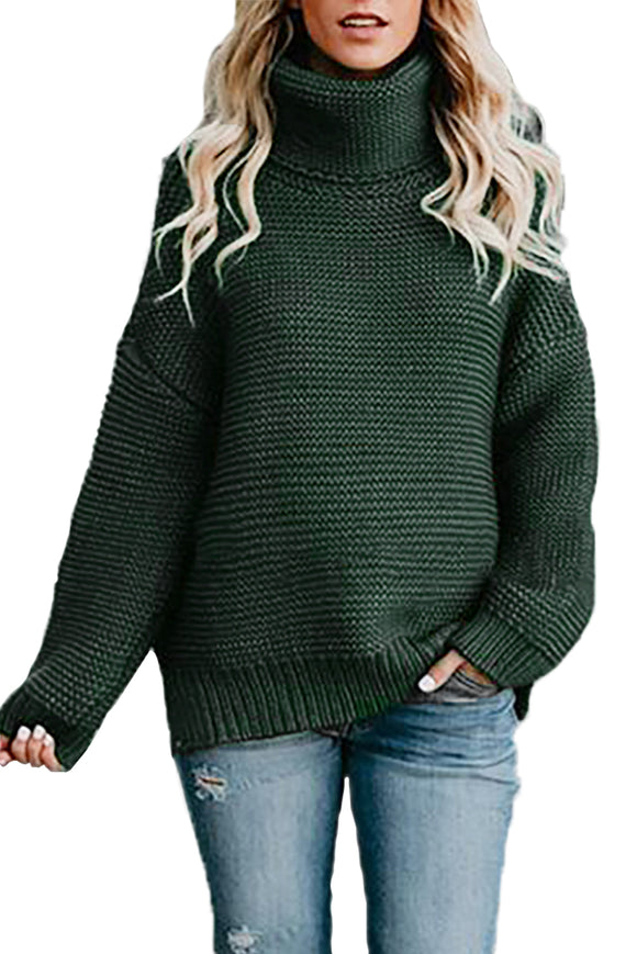 Pull Femme Col Roule Vert Confortable Manches Longues