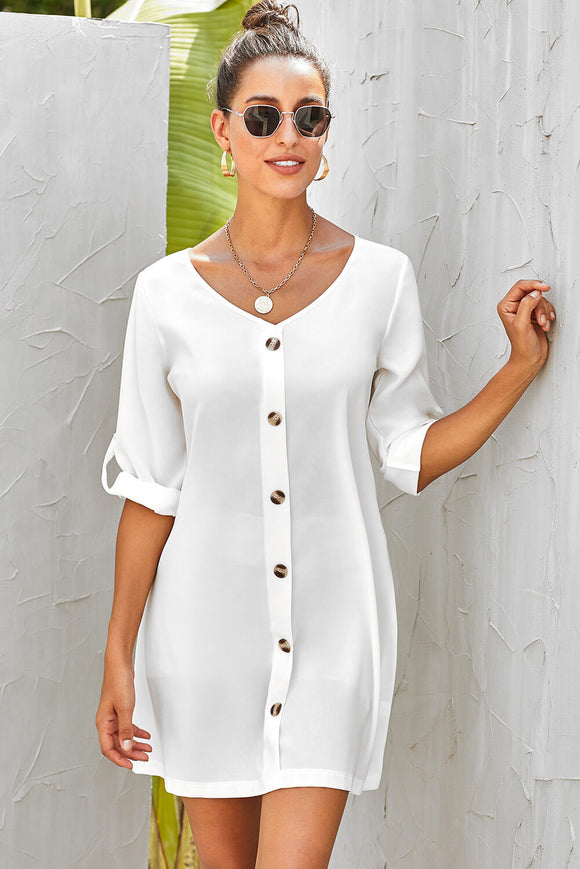 Robe Blanche Femme Col V Bouton Manches Retroussees