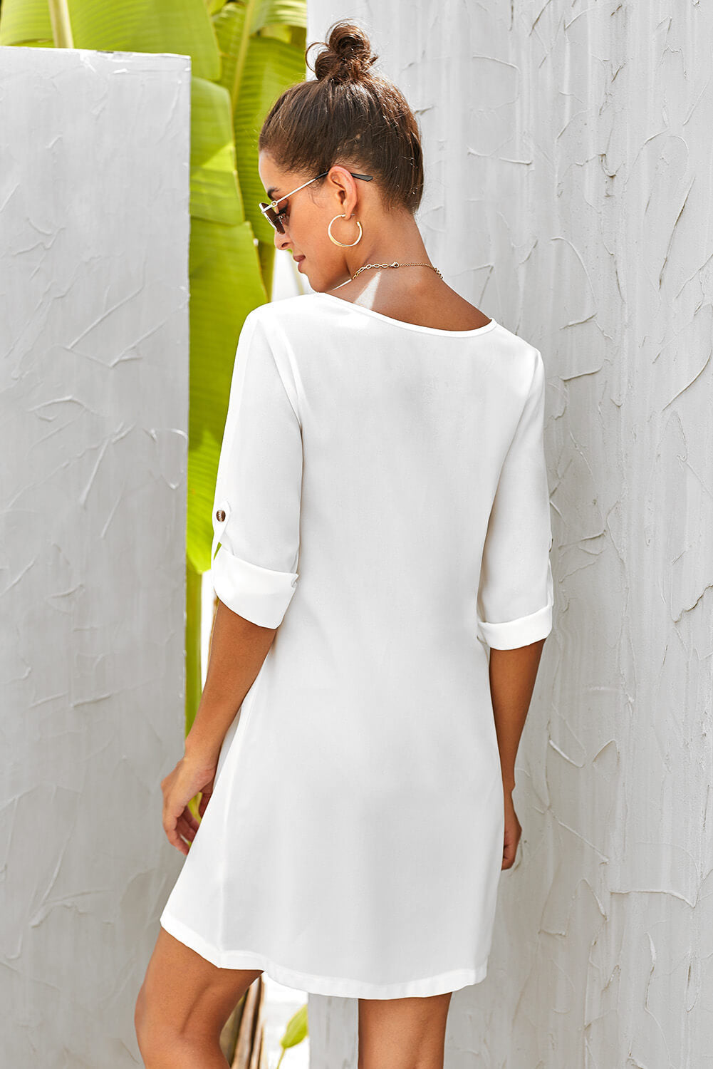Robe Blanche Femme Col V Bouton Manches Retroussees Modebuy Com