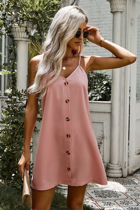 Robe Fourreau Courte Ete Rose Simple A Bretelles Bouton