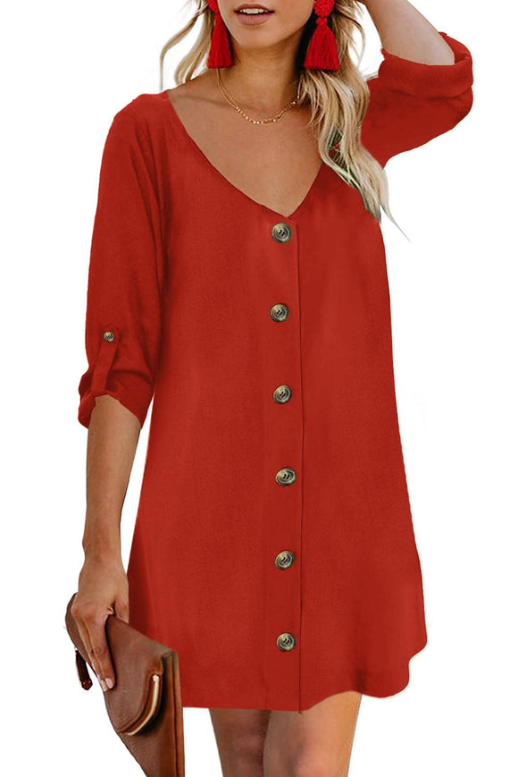 Robe Rouge Femme Col V Bouton Manches Retroussees