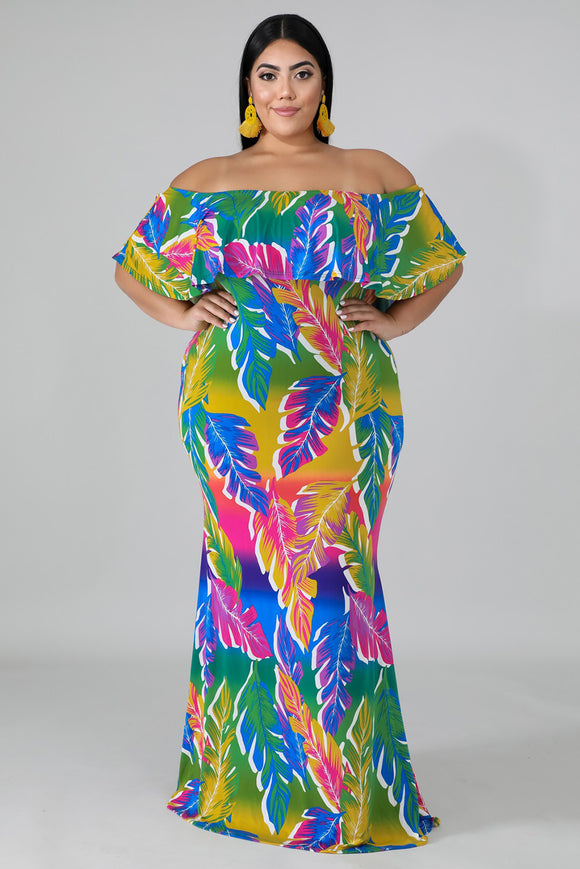 Robe Sirene Grande Taille Palmiers Tropicaux Multi-couleur Col Bardot