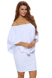 Robe Courte Blanche Chic Vinaigrette de Multiples Couches Collerette