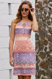 Robe Ete Courte Imprime Boheme Violet Orange Bicolore