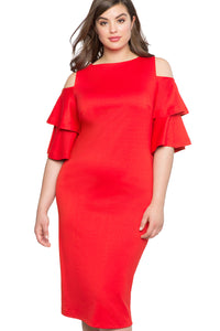 Robe Femme Ronde Chic Rouge Volant Manche Du Froid Epaule