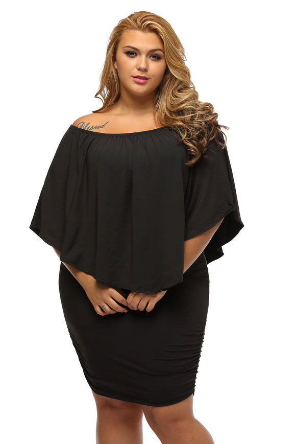 Robe Grande Taille Noire Court Collerette Epaules Denudees