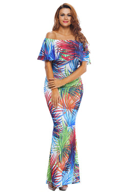 Robe Longue Femme Impression Tropicale Epaules Denudees Collerette
