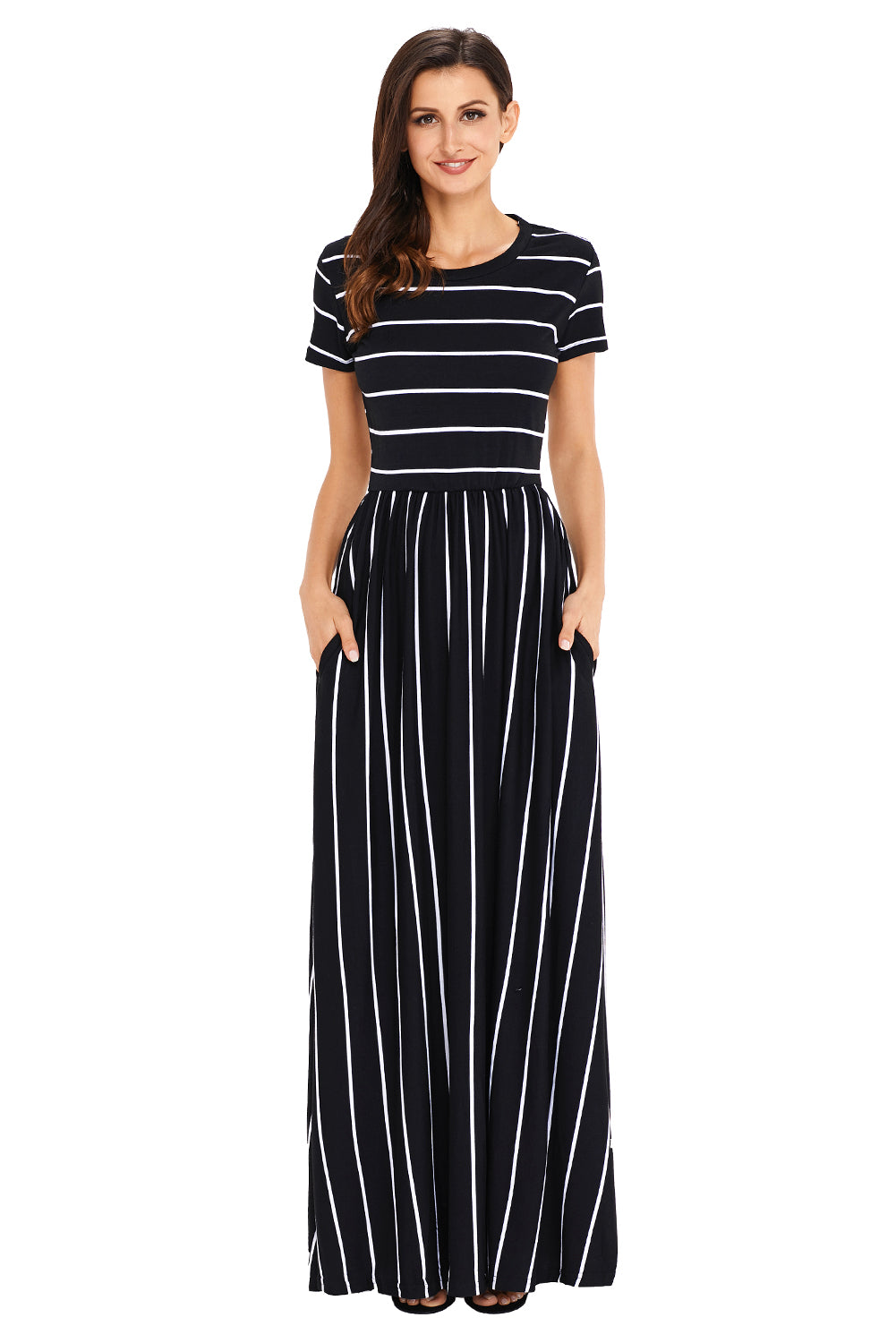 803c80716dee Robe Longue a Rayures Blanche Noire Manches Courtes MB61634-102 ...