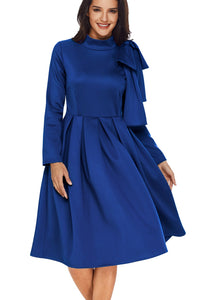 Robe Patineuse Bleu Manche Longue Hiver Col Roule Noeud