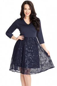 Robe Patineuse Bleue Motif de Paillettes Intelligents