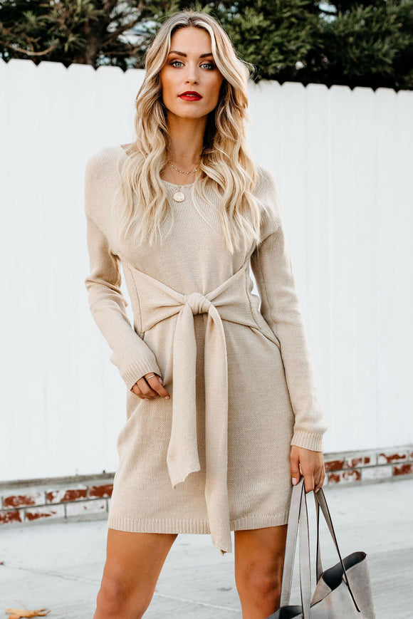 Robe Pull Femme Hiver Abricot Manches Longues Attacher