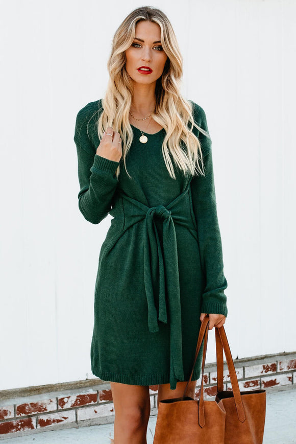 Robe Pull Femme Hiver Verte Manches Longues Attacher