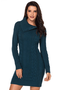 Robe Pull Femme Vert Courte Asymetrique a Col Bouton