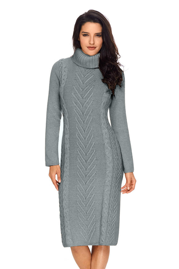 Robe Pull Hiver Gris Col Roule Tricotee a La Main