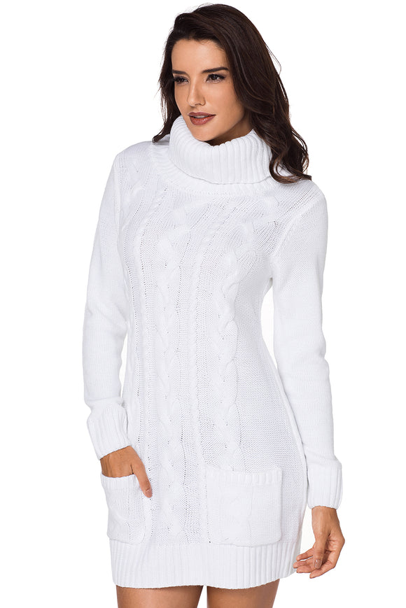 Robe Pull en Tricoter Blanche Col Roule