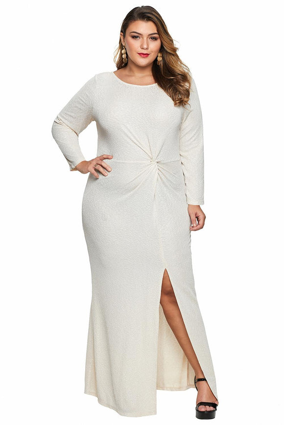 Robe Soiree Formelle Grande Taille Abricot Manche Longue Torsade Metallisee