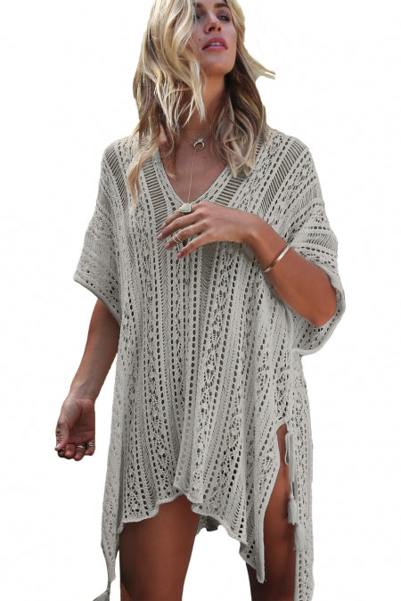 Robe de Plage Cravate Grise Franges en Maille
