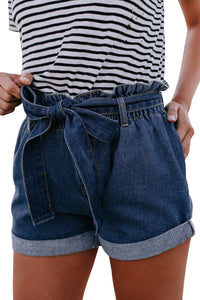 Short Femme Jean Medium Blue Taille du Sac en Papier