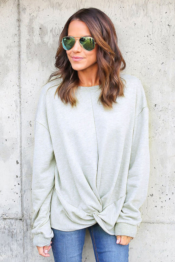 Sweat Shirt Femme Tendance Gris Noeud Twist Front