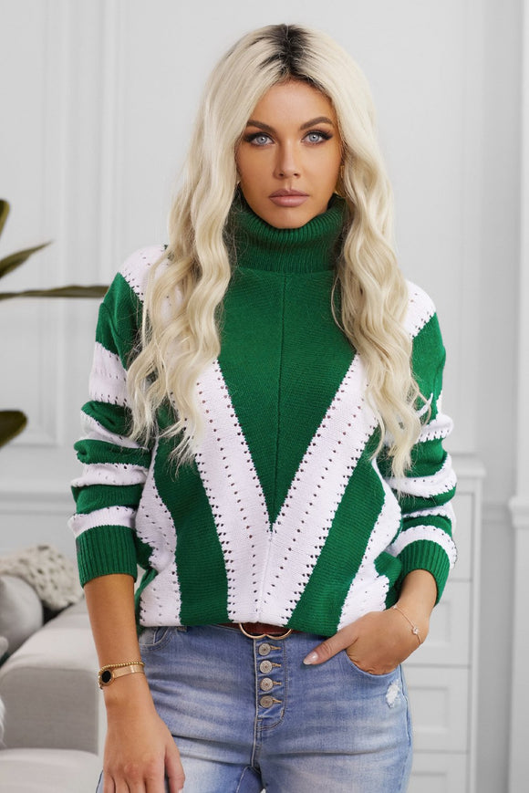 Pull Femme Col Roule a Rayures Vert et Blanc