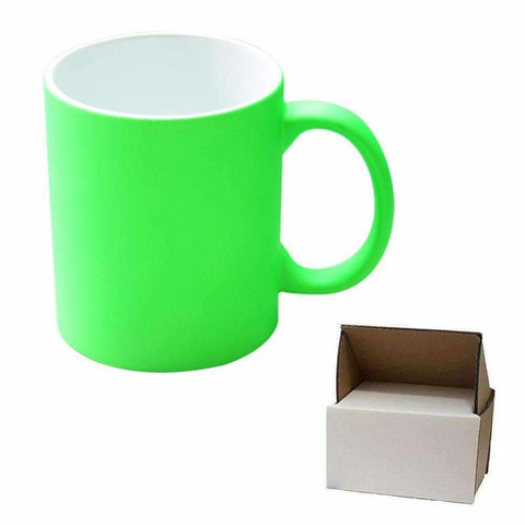 11oz Green Neon Mug - Matte + Mug Box sublimation blanks