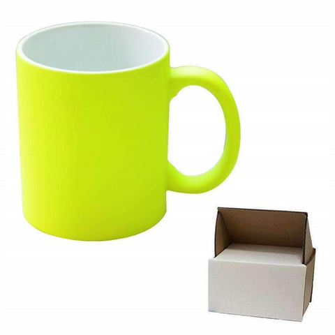 11oz Yellow Neon Mug - Matte + Mug Box sublimation blanks