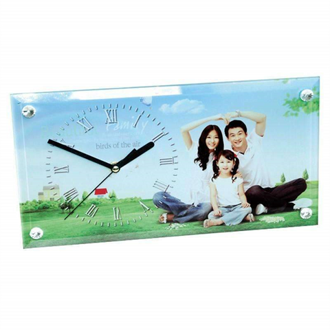 30 x 16 Rectangle Glass Clock sublimation blanks