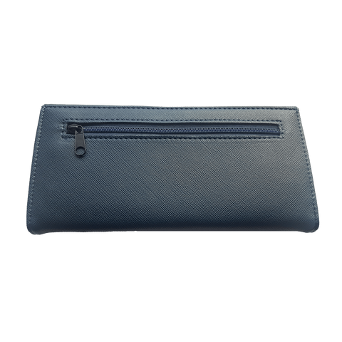 Large Leather Purse - Navy Blue + giftbox
