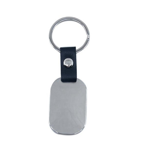 Oval Metal Keyring with Leather chain